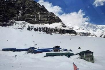 अन्नपुर्ण बेसक्याम क्षेत्रमा हिमपात ४ पर्यटक पुरिएकाे आशंका