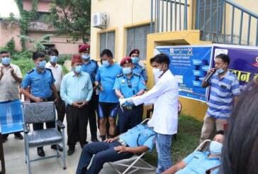 बांके प्रहरीकाे रक्तदान १०१ जना सहभागी